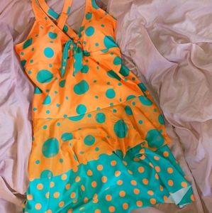 One-Piece Women's Orange & Teal Swimsuit NWOT
